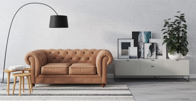 Camden Chesterfield leather 2 seater couch