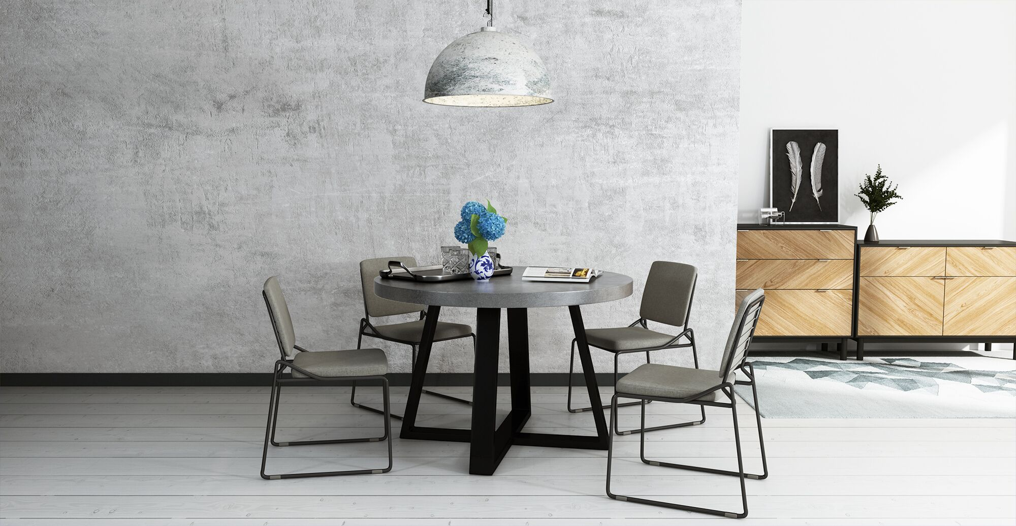 Metal framework table and chairs