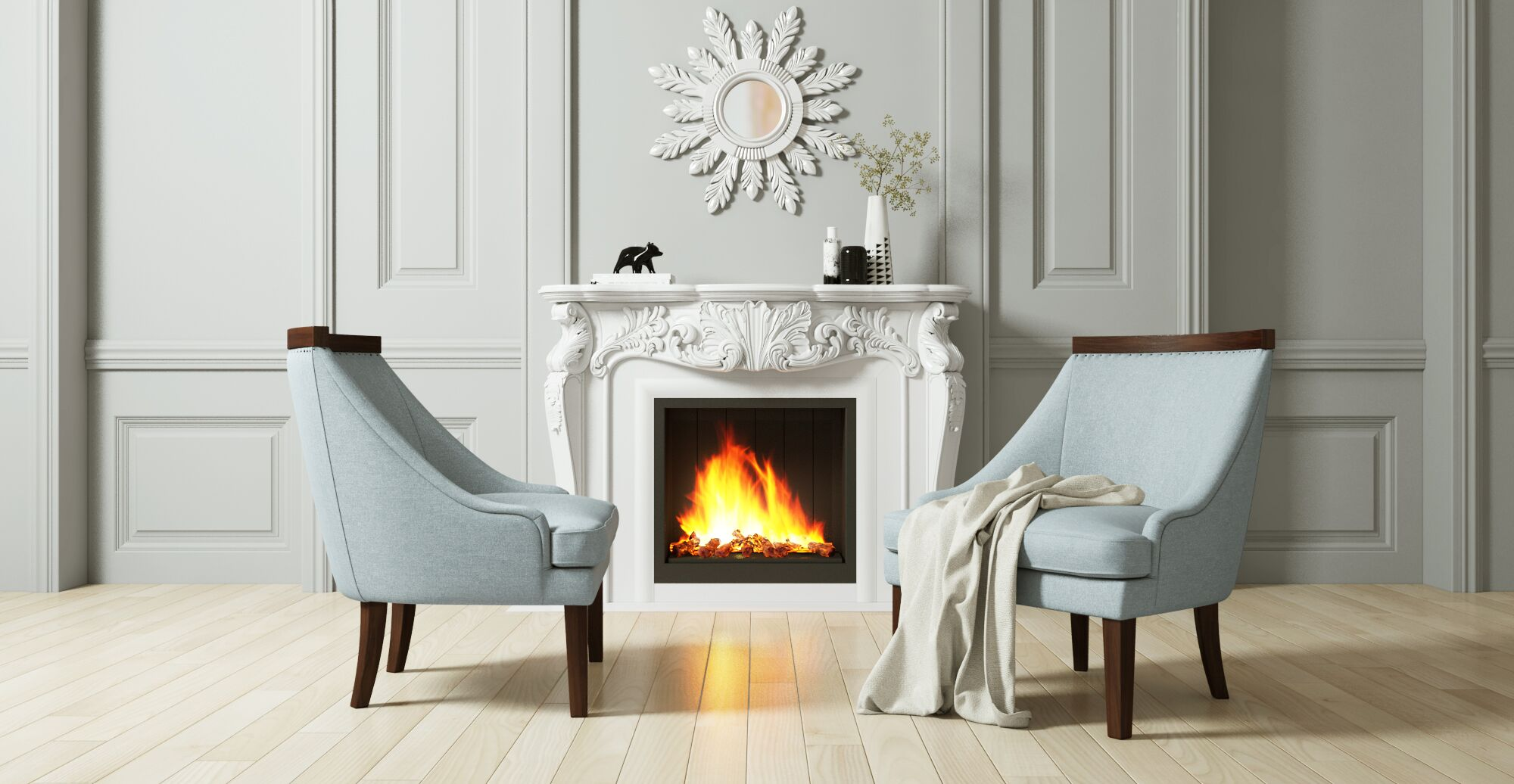Fireplace with surrounding glam furniture