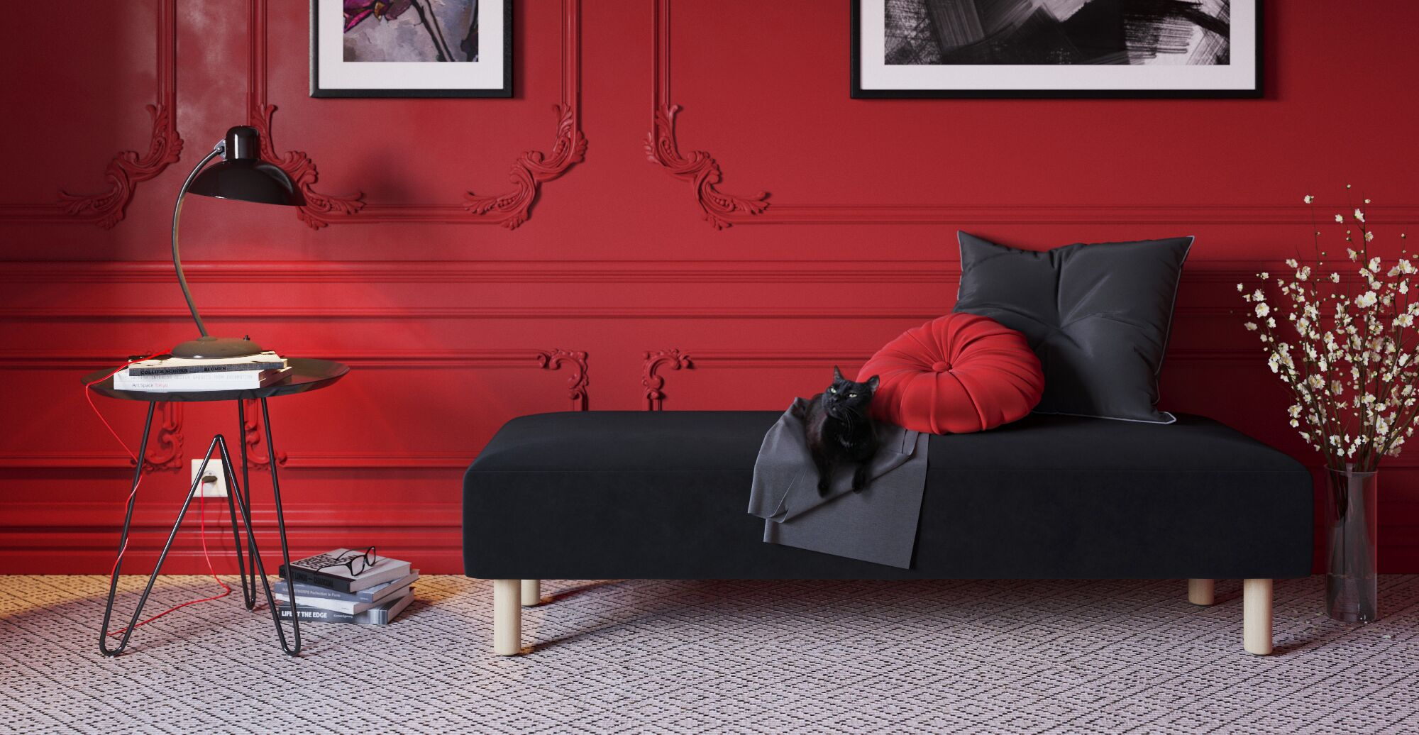Glam style living in red and black