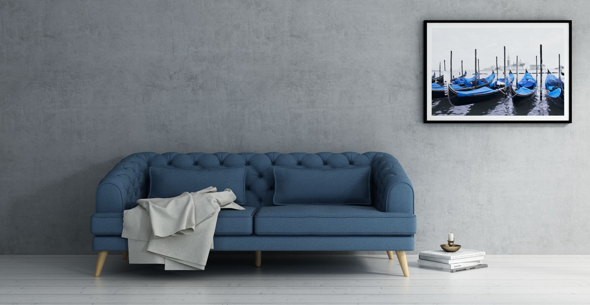 a single coloured blue sofa