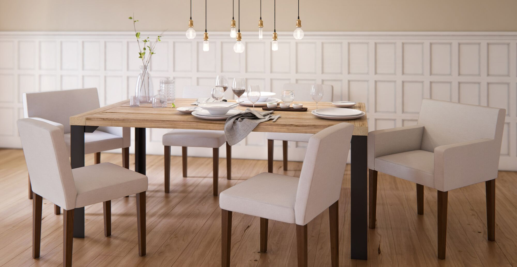 An ash wood dining table
