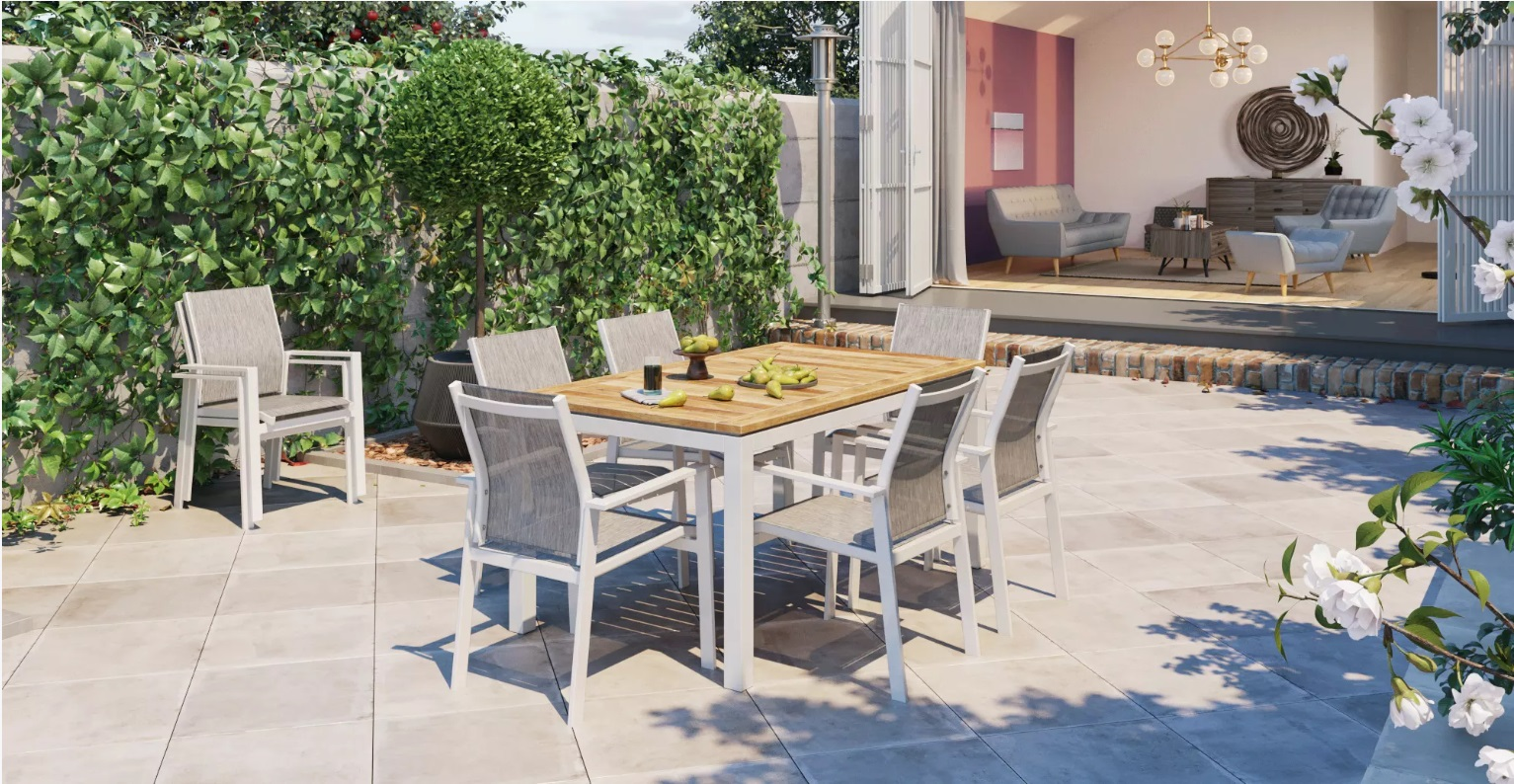 A timber outdoor dining set