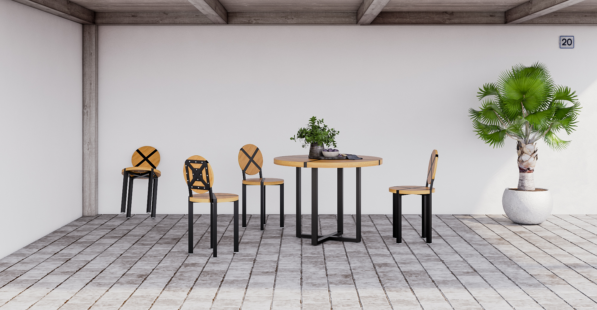 a modern outdoor dining set made of wood