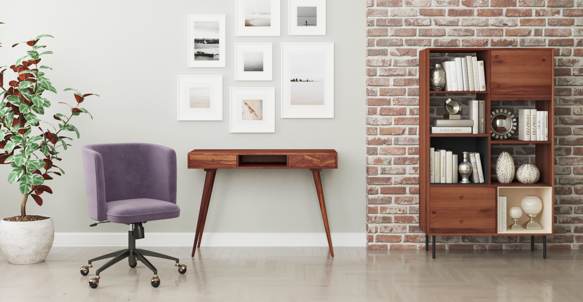 Brosa Potter Desk with Kidd Bookcase in Mid Century Modern Style Home Office