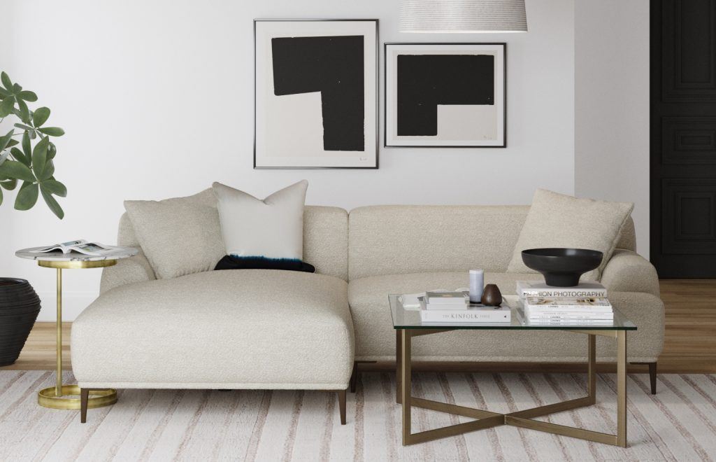Brosa Seta 4 Seater Sofa with Chaise in Modern Contemporary Style Living Room