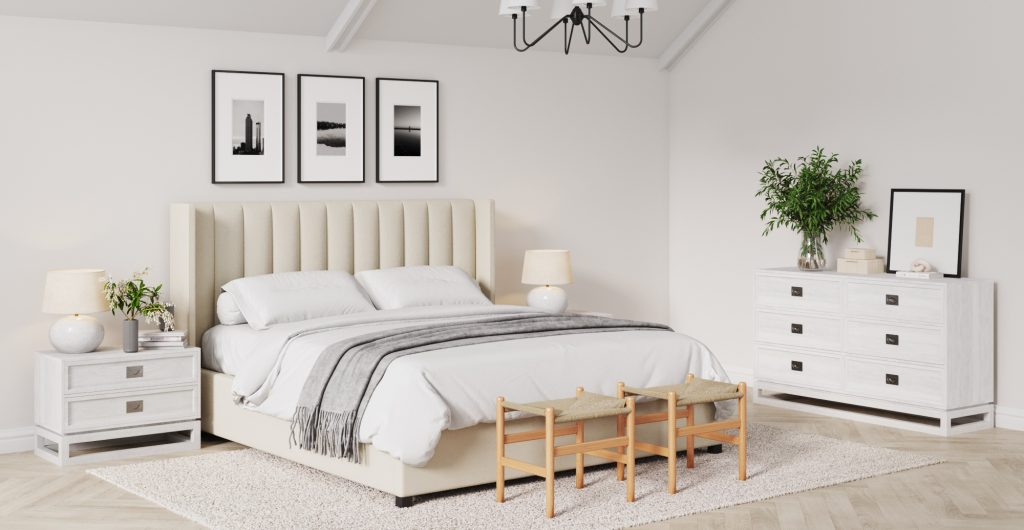 Brosa Isabella Queen Size Gas Lift Bed Frame in Hamptons Style Bedroom