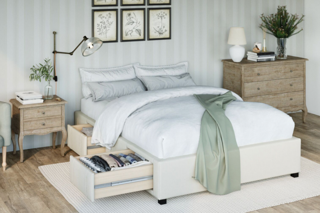 Brosa Queen Size Upholstered Bed Base with Drawers in Traditional Bedroom