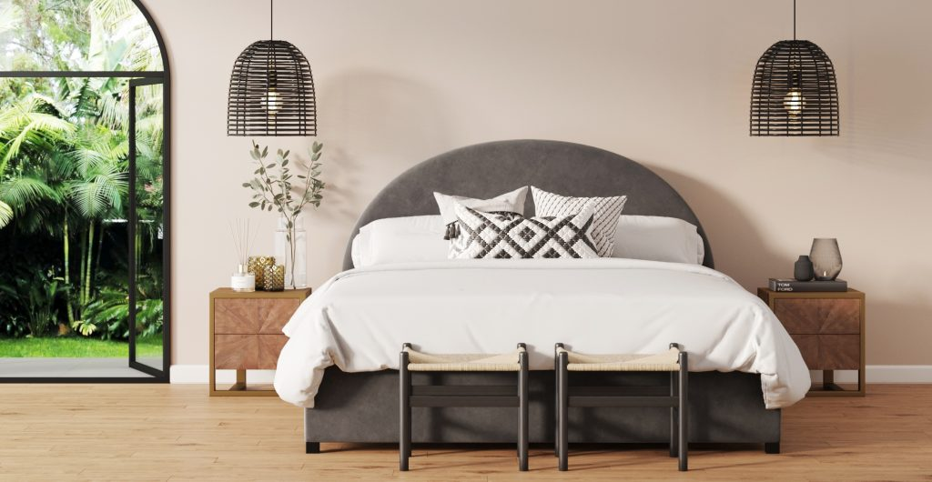 Brosa Arch Queen Bed Size Upholstered Bed Frame in New Art Deco Style Bedroom