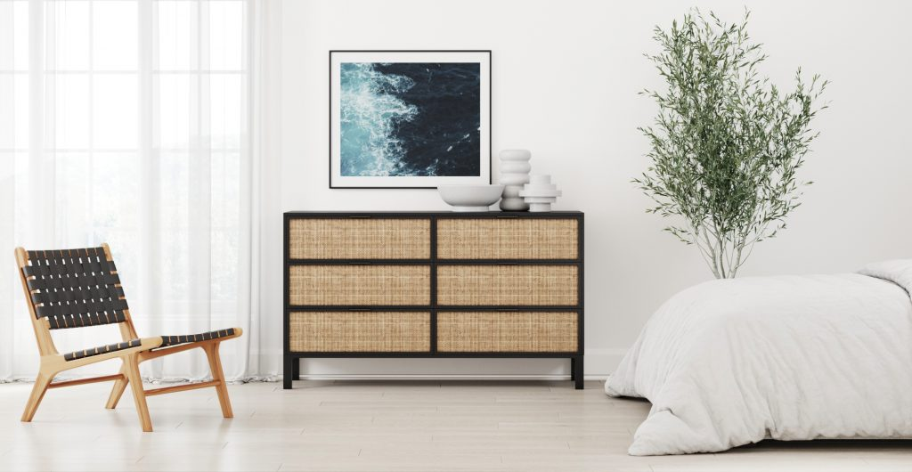 Brosa Rattan Caledonia Large Dresser in Modern Coastal Style Bedroom
