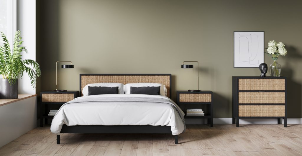Brosa Caledonia Rattan Queen Size Bed Frame in Modern Contemporary Style Bedroom