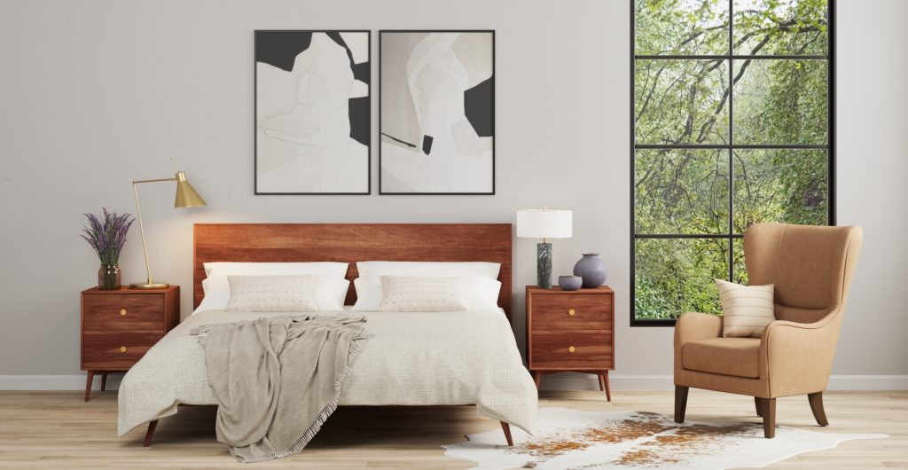Brosa Frank Slim Queen Size Bed Frame in Mid-Century Style Bedroom