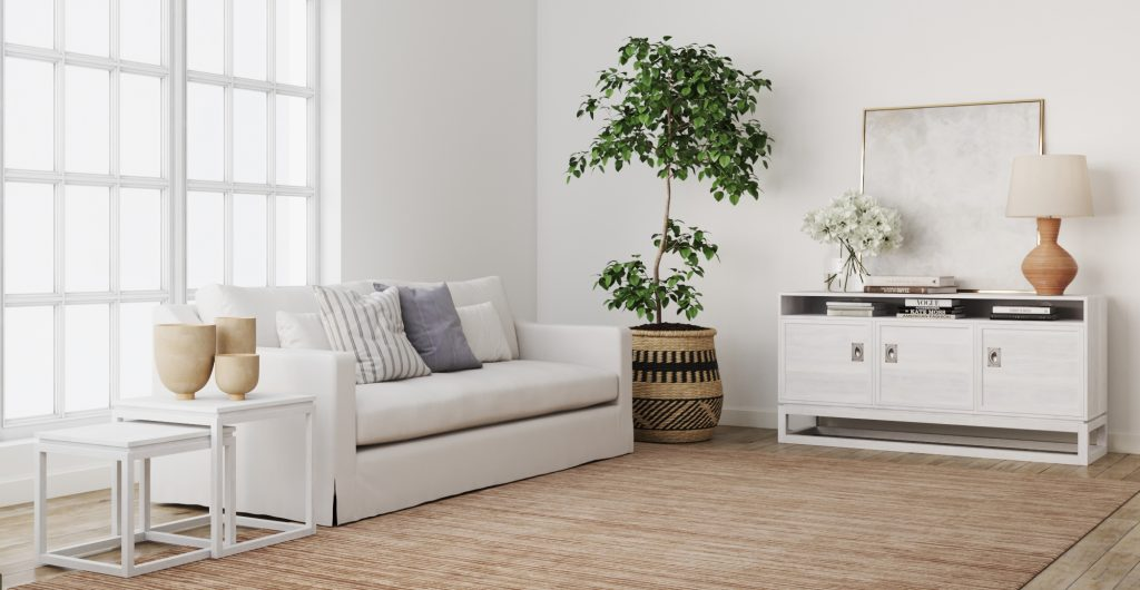 Brosa Compact Entertainment Unit in Hamptons style Living Room