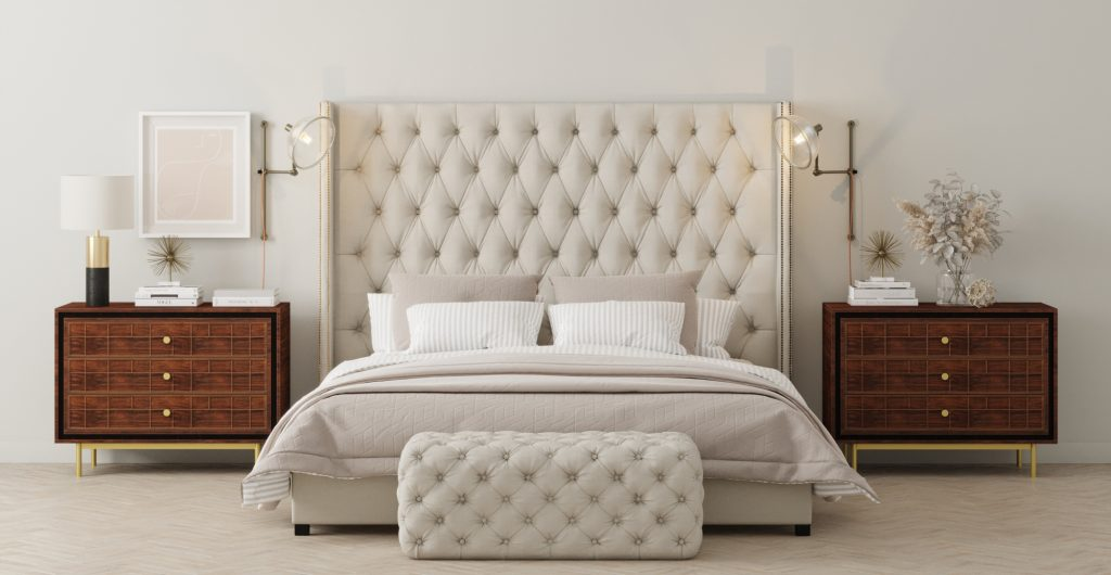 Brosa Stella Tall Queen Size Bed Head in Classic Traditional Style Bedroom