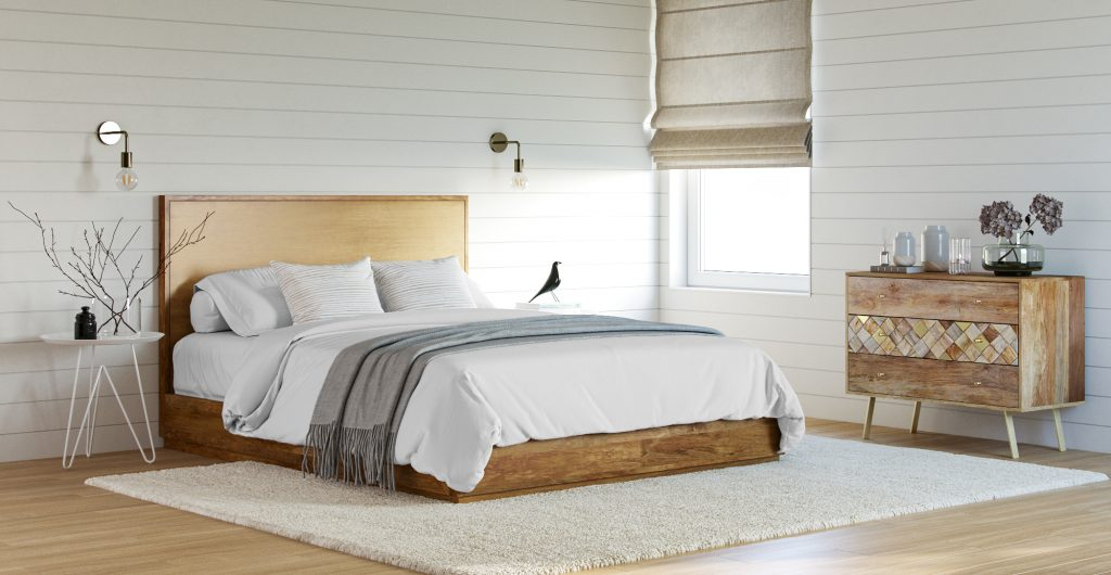 Brosa Bruin Queen Size Wooden Bed Frame in Contemporary Style Bedroom
