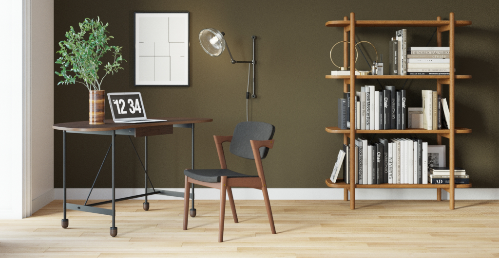Brosa Leonie Desk Styled in a Modern Contemporary Home Office with an Industrial Style edge