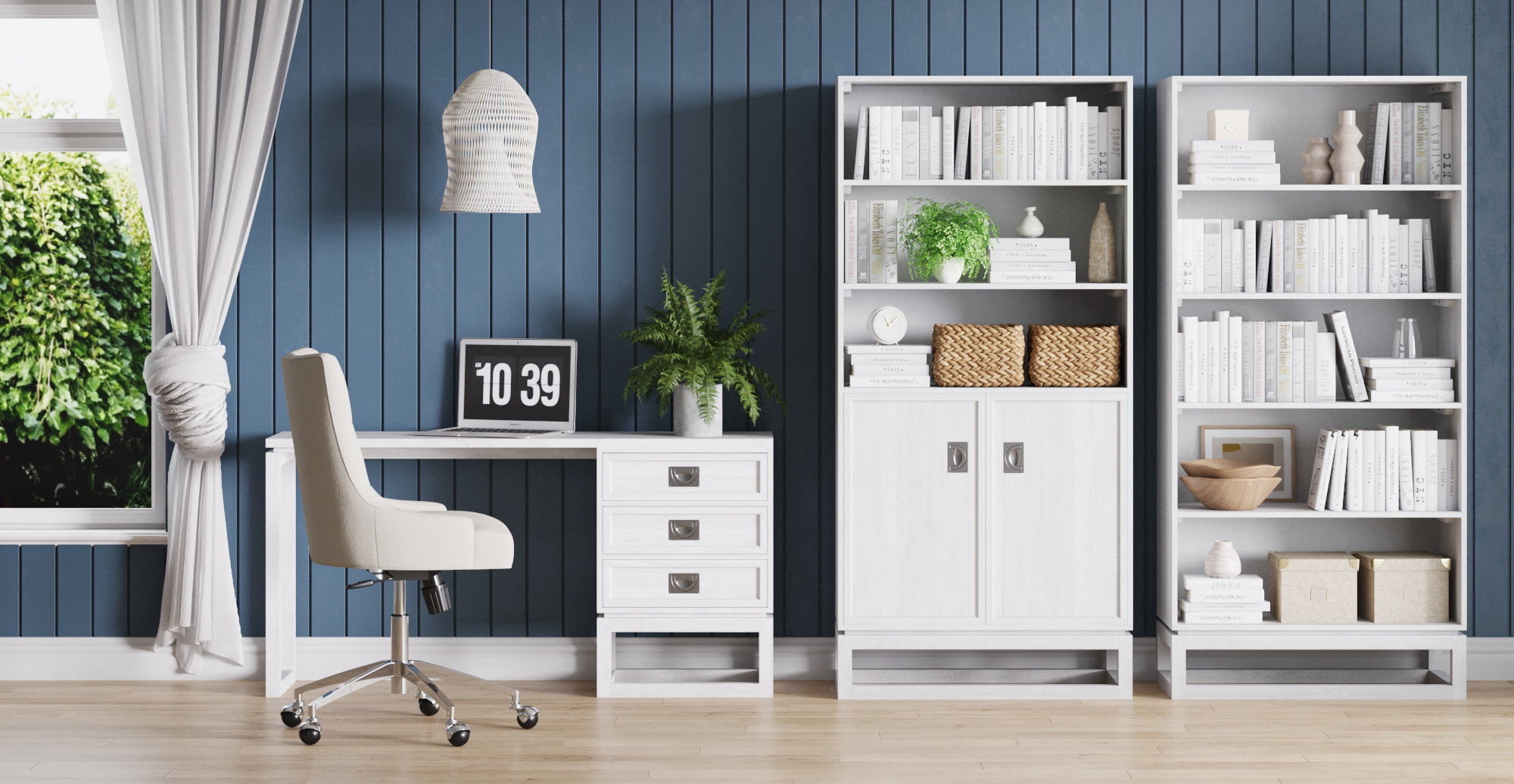 Brosa Monterey Hamptons Style Desk with Drawers in Hamptons Style Home Office