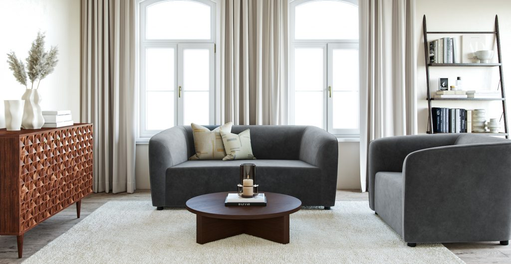 Brosa Anais 3 Seater Sofa in velvet fabric in a Modern Contemporary style living room