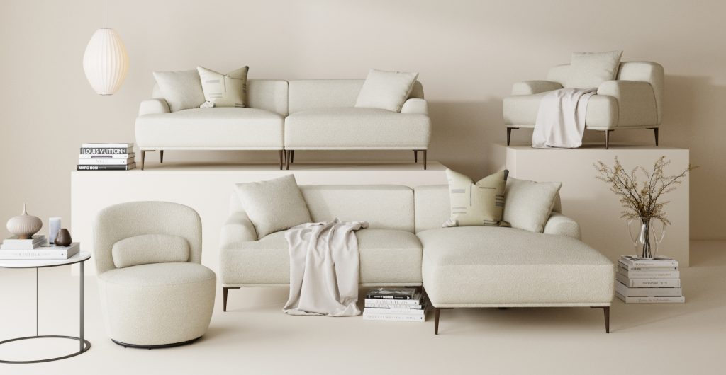 Brosa Boucle Furniture for the Modern Contemporary Styled Living Room