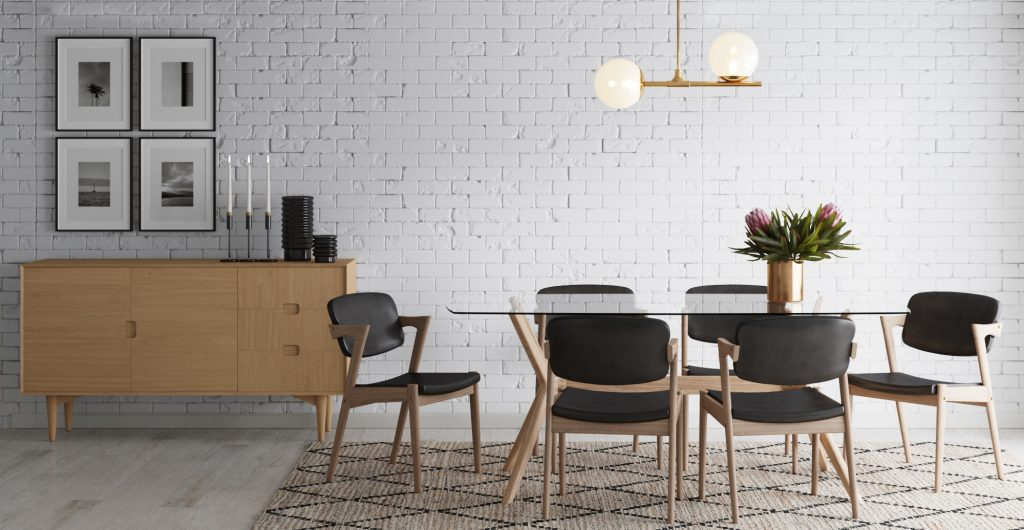 Brosa Olsen Glass Dining Table in Scandinavian Style Dining Room
