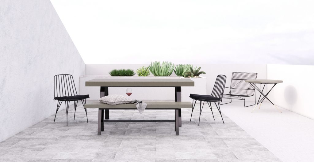 Brosa Smeaton Outdoor Dining Table and Bench on Contemporary Courtyard