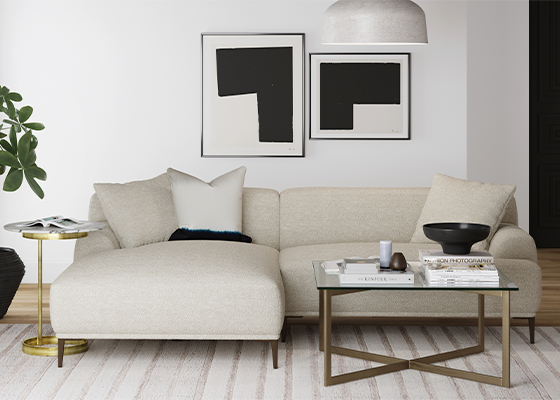Brosa Seta Sofa and Kipling Coffee Table in Modern Contemporary Style Living Room
