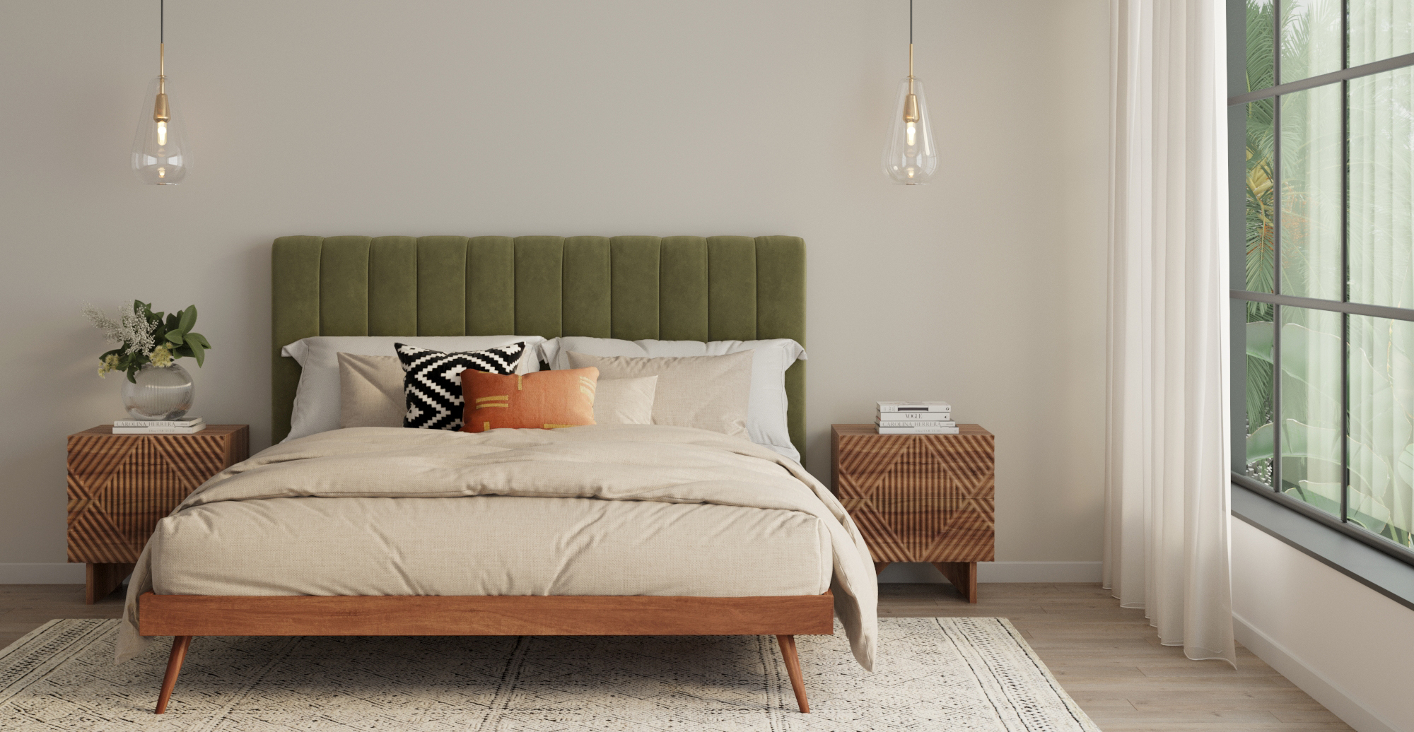 Brosa Frank Bed Frame and Megan Bed Head in Contemporary Room