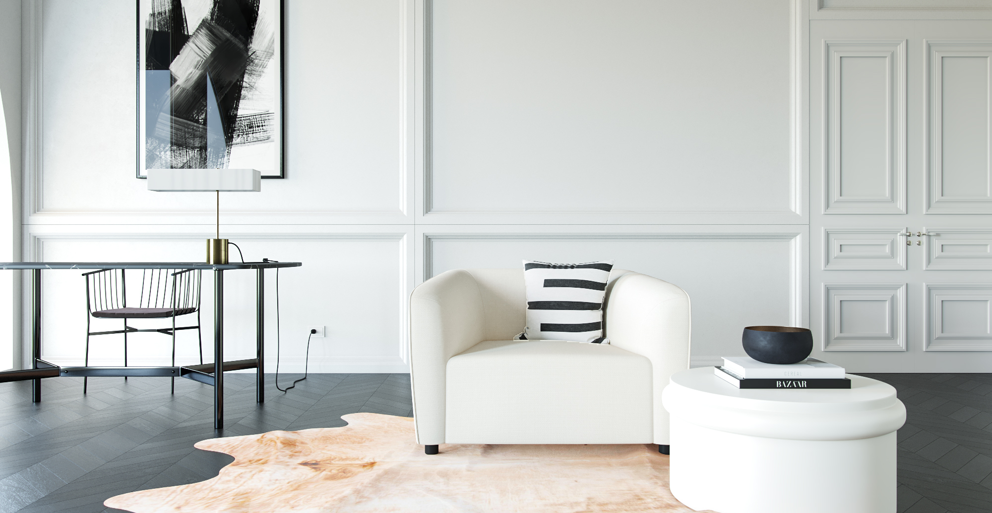 Brosa Anais Armchair in Monochromatic Contemporary Style Living Room